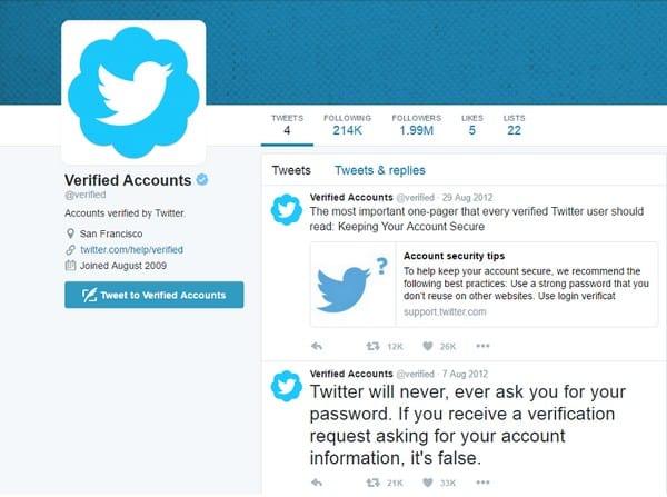 Dicas para verificar a conta no Twitter