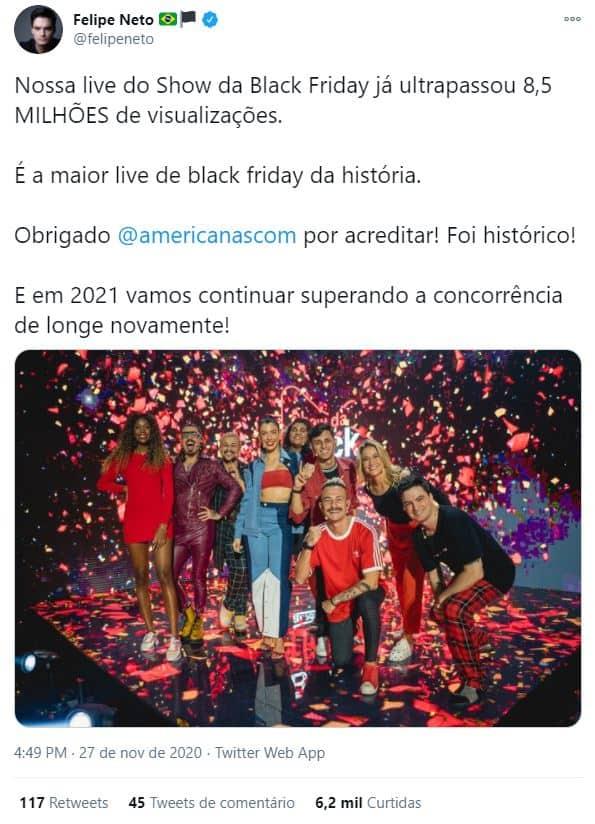 Tweet do Felipe Neto na campanha de Black Friday da Americanas