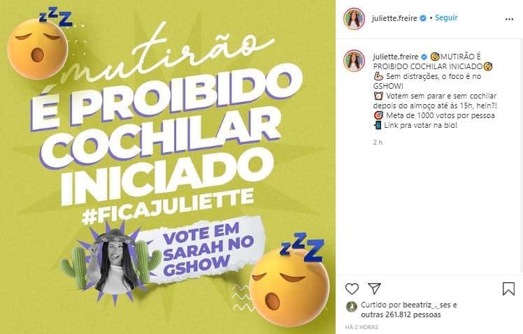 Gestão de Instagram da Juliette