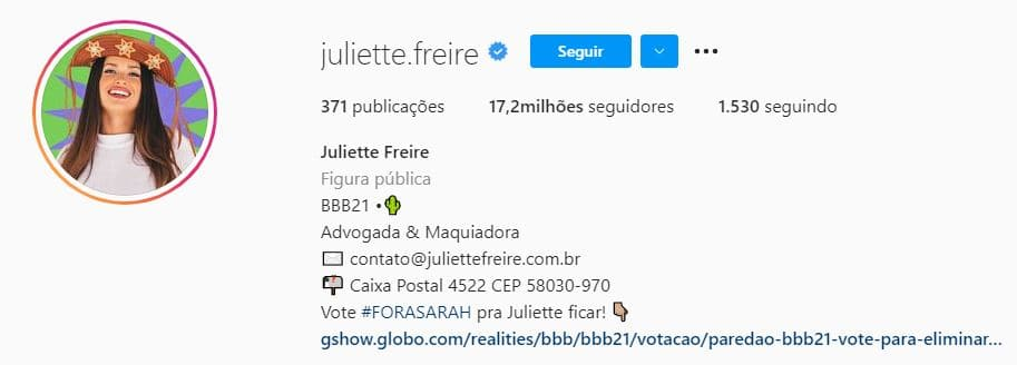 Juliette nas redes sociais