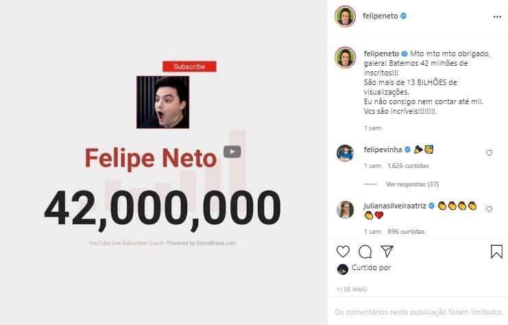 Post de comemoração do Felipe Neto