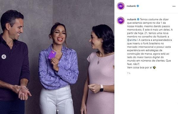 Anitta se junta ao Conselho de Administração do Nubank