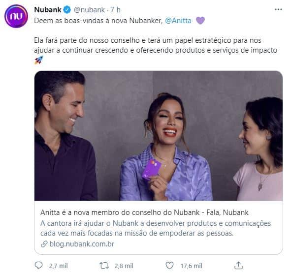 Anúncio do Nubank via Twitter