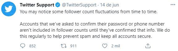 Esclarecimento do Twitter