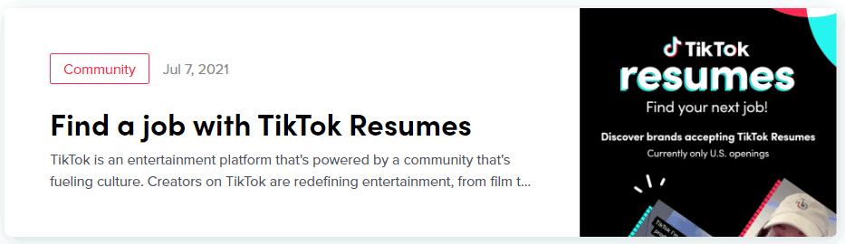 Anúncio TikTok Resumes