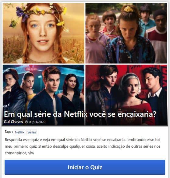 Exemplo de Quiz da Netflix