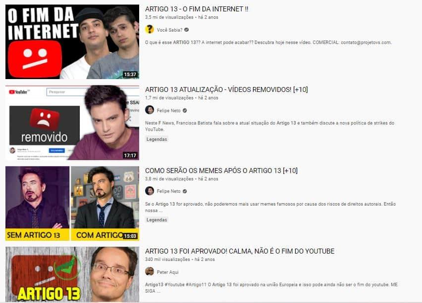 O Artigo 13 no YouTube